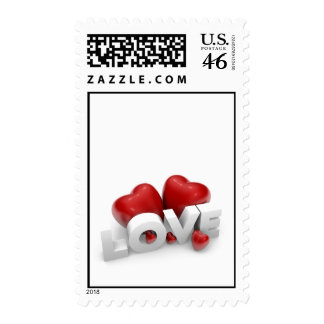 Valentine hearts and love word postage