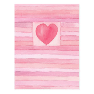 Valentine Hearts and Stripes Pastel Pink Postcard