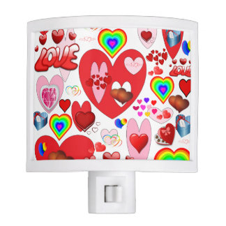 Valentine Hearts Collage Nite Light