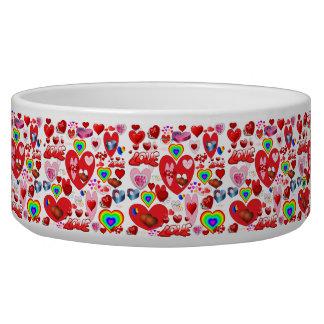 Valentine Hearts Collage Dog Bowls