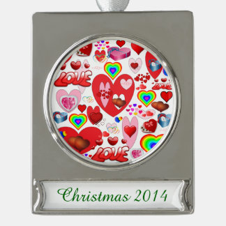 Valentine Hearts Collage Silver Plated Banner Ornament