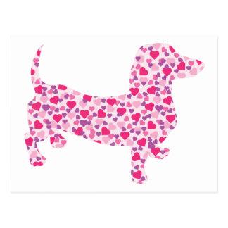 Valentine Hearts Dachshund Postcard