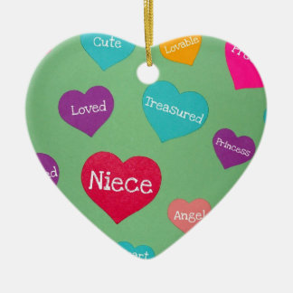Valentine hearts for a sweet niece! ceramic ornament