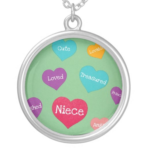 Valentine hearts for a sweet niece! round pendant necklace