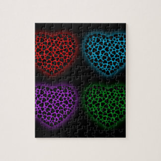 Valentine hearts glowing in the dark jigsaw puzzle
