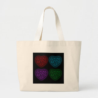 Valentine hearts glowing in the dark large tote bag