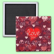 Valentine Hearts Magnet - Romantic Hearts - I Love You!