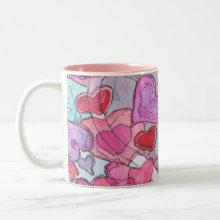 Valentine Hearts Mug - Layering hearts original watercolor and ink painting.