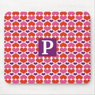 Valentine Hearts Quilt Monogram Mouse Pad