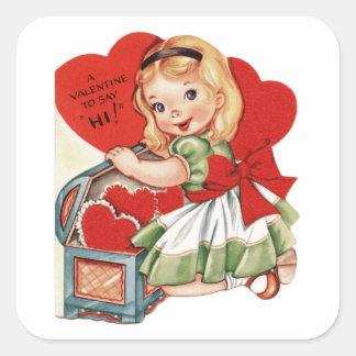 Valentine Hi and Little Girl Square Sticker