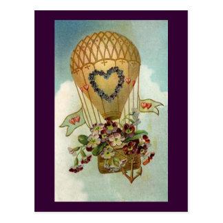 Valentine Hot Air Balloon Post Card