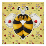 Valentine Hugging Bees in Love Poster