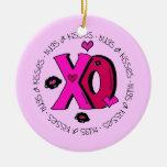 Valentine Hugs and Kisses Ceramic Ornament
