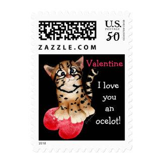 Valentine, I Love You An Ocelot Sml Black Postage