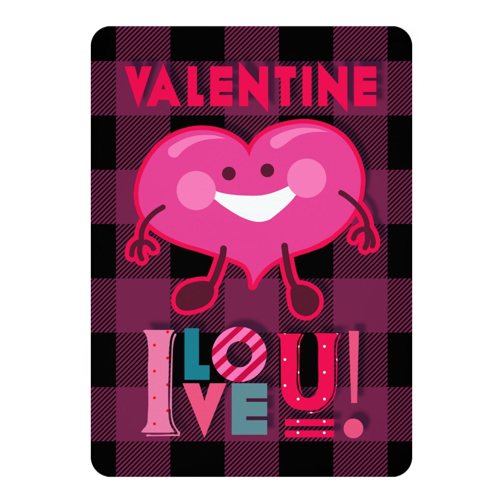 Valentine I Love You! Cute Heart Character, Plaid Card