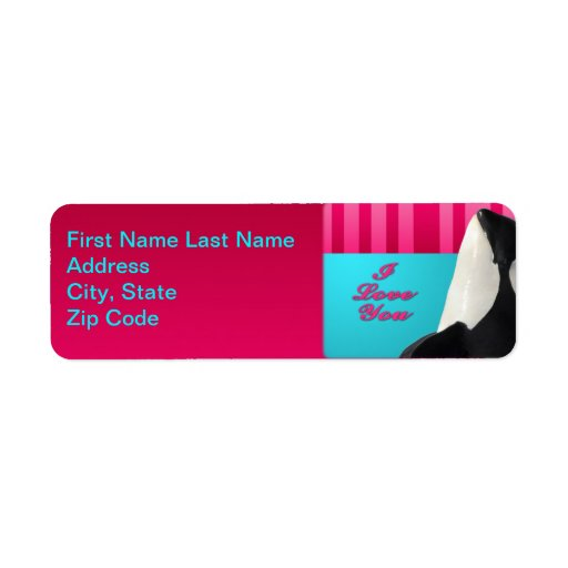 Valentine I love you orca whale address lable Return Address Label