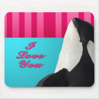 Valentine I love you orca whale Mousepads
