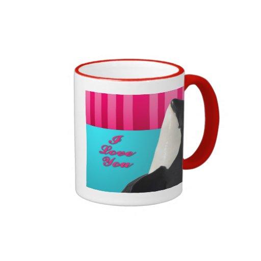 Valentine I love you orca whale Ringer Coffee Mug