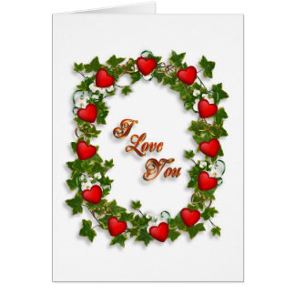 Valentine I love you red hearts and flowers wreath Card