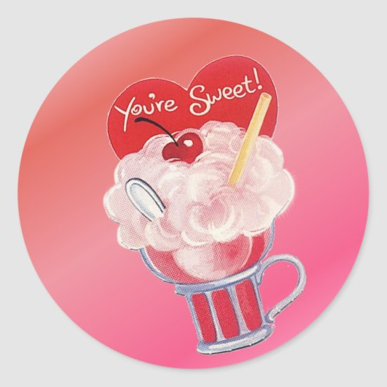 Valentine Ice Cream Soda Classic Round Sticker