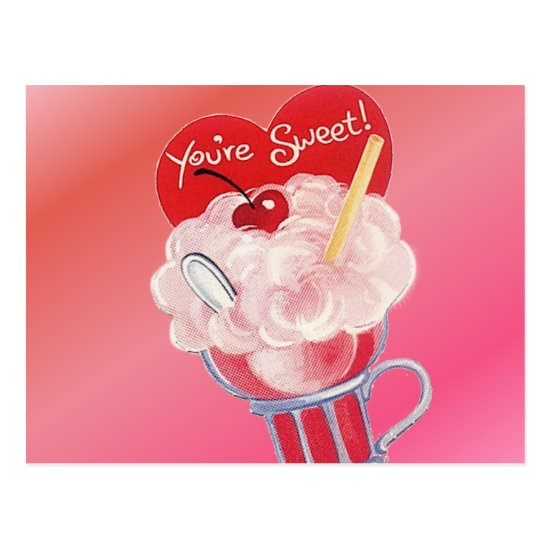 Valentine Ice Cream Soda Postcard