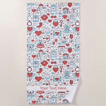 Valentine Icons custom text beach towel