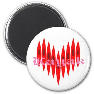 Valentine Kayak Hearts 2 Inch Round Magnet