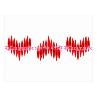 Valentine Kayak Hearts Postcard
