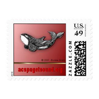 Valentine killer whale custom postage