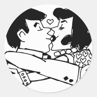 Valentine Kiss Classic Round Sticker