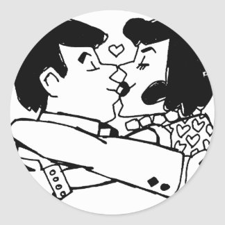 Valentine Kiss Round Sticker