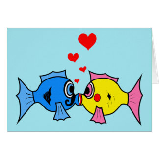 Valentine Kissing Fish in Love Card