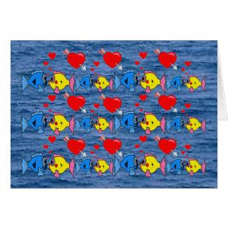 Valentine Kissing Fish in Love Pattern Card