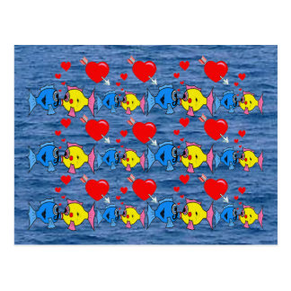 Valentine Kissing Fish in Love Pattern Postcard