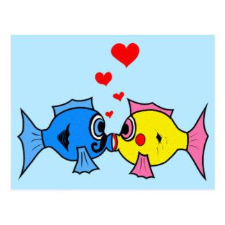Valentine Kissing Fish in Love Postcard