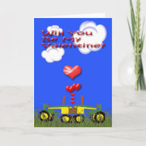 Valentine Kissing Tractors Card