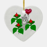Valentine Kitty Cat Double-Sided Heart Ceramic Christmas Ornament