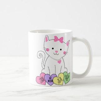 Valentine Kitty Basic White Mug