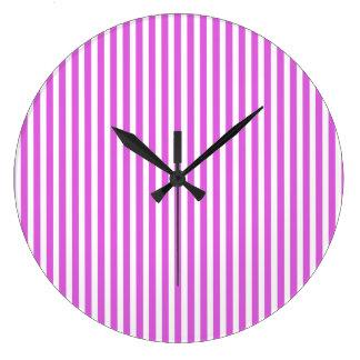 Valentine Lilac and White Stripes Clock