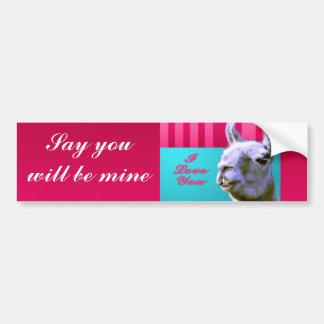 Valentine llama I love you be mine pink red, turqu Bumper Sticker