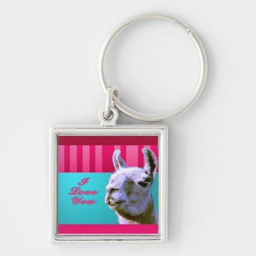 Valentine llama I love you be mine pink red, turqu Key Chain
