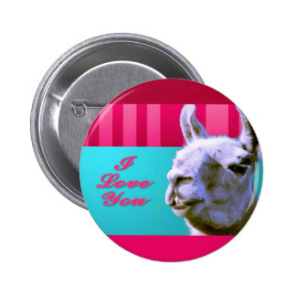 Valentine llama I love you be mine pink red, turqu Pinback Button