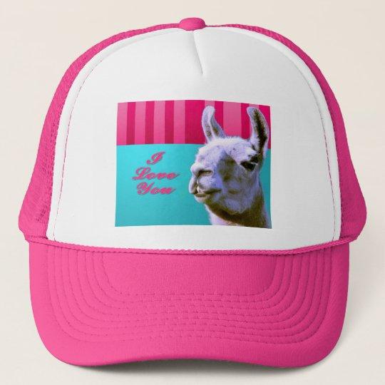 Valentine llama I love you be mine pink red, turqu Trucker Hat