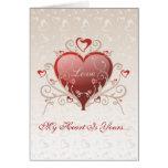 Valentine Love - Big Shiny Heart Gold Scroll Card