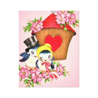 Valentine Love Birds Birdhouse Art Canvas