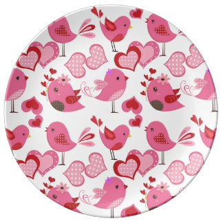 Valentine Love Birds Dinner Plate