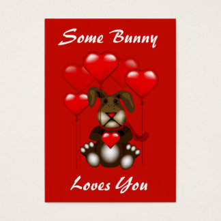 Valentine Love Bunny Balloons Custom Kids Pack Business Card