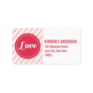 Valentine Love Circles Pink Stripes Address Labels