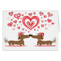 Valentine Love Dachshunds Card
