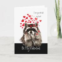 Valentine Love Fun Raccoon Blowing Kisses Holiday Card